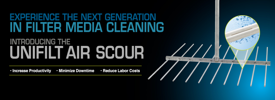 Experience the next generation in filter media cleaning - the unifilt air scour